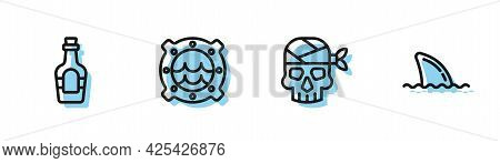 Set Line Pirate Captain, Alcohol Drink Rum, Ship Porthole With Seascape And Shark Fin Ocean Wave Ico
