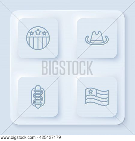 Set Line Medal With Star, Western Cowboy Hat, Hotdog Sandwich And American Flag. White Square Button