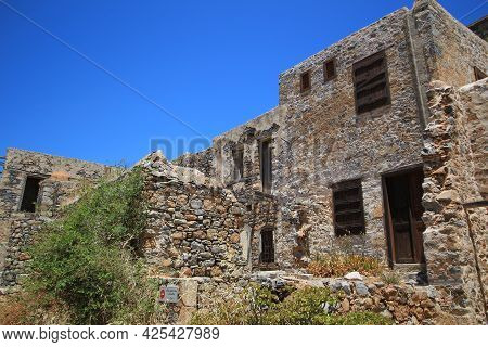 Abandoned Old Fortress And Former Leper Colony, Island Spinalonga, Crete, Greece.