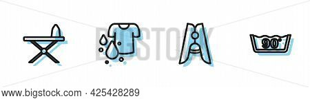 Set Line Clothes Pin, Iron And Ironing Board, Dirty T-shirt And Temperature Wash Icon. Vector
