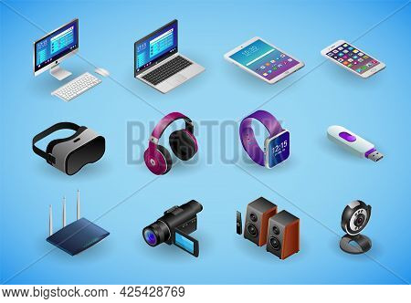 Realistic Gadgets, Digital Devices, Pc 3d Icons In Isometry Isolated On Blue Background. Big Vector
