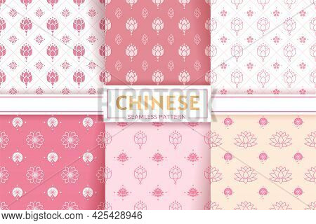 Chinese Seamless Patterns. Vector Set. Floral Textures. Lotus Flowers And Leaves. Ornament And Textu