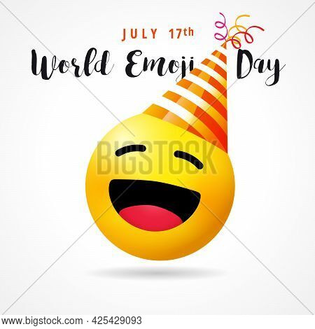 World Emoji Day, Funny Smile Icon In Party Hat. July 17th, World Emoji Day Text With Cute Emoticon F