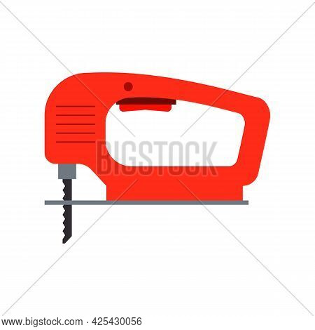 Electric Wood Jig Saw. Сarpentry Jigsaw. Power Tool. Vector Drawing On White Background.