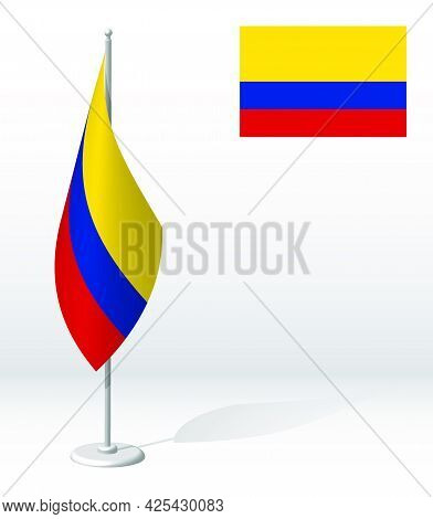 Colombia Flag On Flagpole For Registration Of Solemn Event, Meeting Foreign Guests. National Indepen