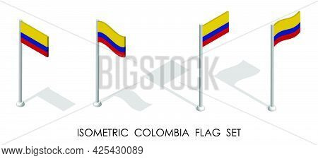 Isometric Flag Of Colombia In Static Position And In Motion On Flagpole. 3d Vector