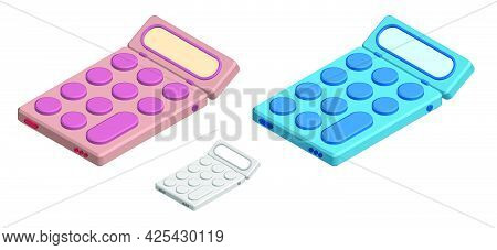 Isometric Toy Calculator. Learning Tools. Calculation Of Finances And Accurate Bookkeeping. Realisti