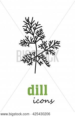 Dill Vector Icon. Vegetable Green Leaves. Greenery. Culinary Herb Spice For Cooking, Medical, Garden