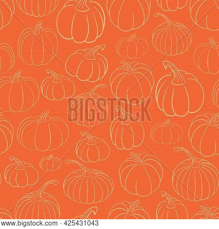 Cute Fall Vector Seamless Pattern, Bright Background With Various Hand Drawn Pumpkins In Outline On