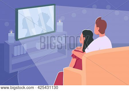 Couple Watch Movie Flat Color Vector Illustration. Romantic Date Night At Home. Film Marathon For We