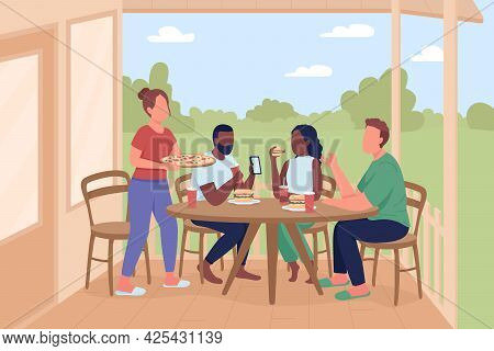 Friends At Outdoor Dinner Party Flat Color Vector Illustration. Leisure Activity With Pizza Eating.