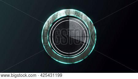 Image of digital interface countdown waiting circle loading on black background. technology, computing and digital interface concept digitally generated image.