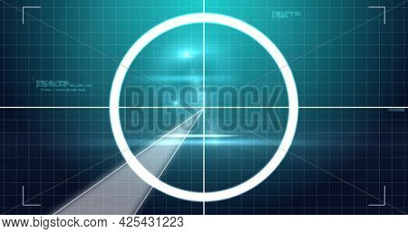 Image of digital interface circles flashing and data processing on green background. technology, computing and digital interface concept digitally generated image.