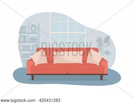 Living Room With Red Sofa 2d Vector Isolated Illustration. Comfortable Couch For Relaxation. Modern