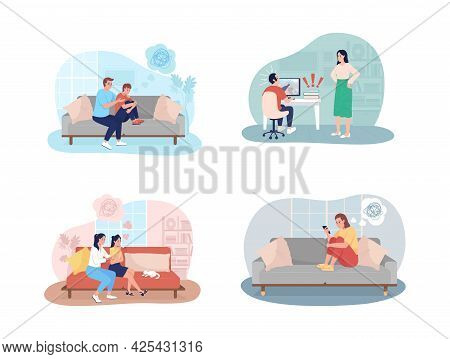 Teenager Problems 2d Vector Isolated Illustration Set. Parent Support To Kid. Adolescent Child With