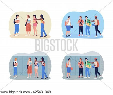 Bullying Teenagers At School 2d Vector Isolated Illustration Set. Peer Pressure. Classmates Mock Gir