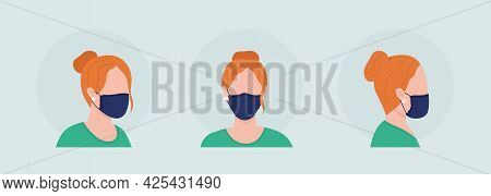 Wear Mask With Gathered Sides Semi Flat Color Vector Character Avatar Set. Portrait Respirator From