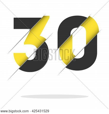 30 3 0 Number Logo Design With A Creative Cut And Black Circle Background. Creative Logo Design.