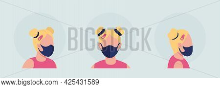 Girl With Middle Seam Mask Semi Flat Color Vector Character Avatar Set. Portrait With Respirator Fro