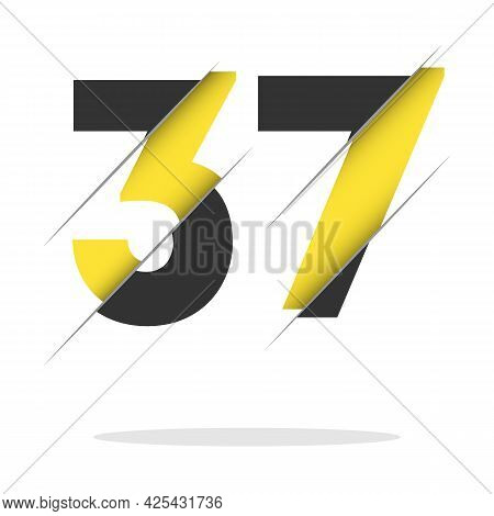 37 3 7 Number Logo Design With A Creative Cut And Black Circle Background. Creative Logo Design.