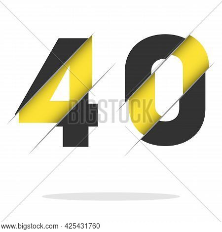 40 4 0 Number Logo Design With A Creative Cut And Black Circle Background. Creative Logo Design.