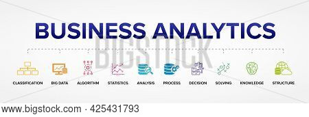 Business Analytics Concept Vector Icons: Big Data, Classification, Analysis, Statistics, Decision, S