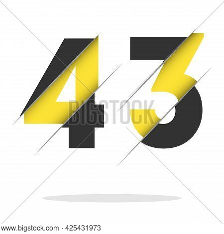 43 4 3 Number Logo Design With A Creative Cut And Black Circle Background. Creative Logo Design.