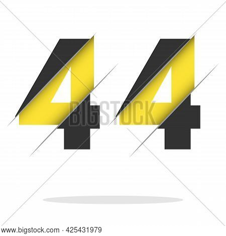 44 4 Number Logo Design With A Creative Cut And Black Circle Background. Creative Logo Design.
