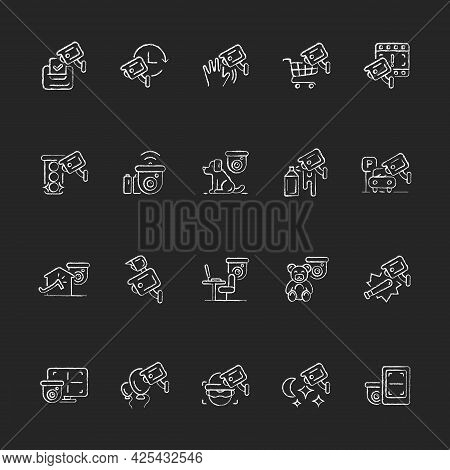Surveillance And Security Systems Chalk White Icons Set On Dark Background. Cctv Camera Installation
