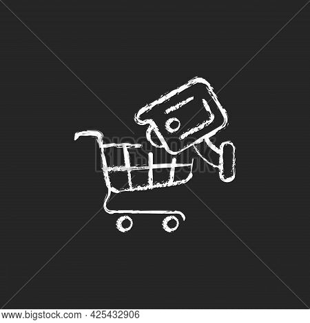 Tracking Customers With Surveillance Camera Chalk White Icon On Dark Background. Shoplifting Prevent