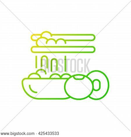 Natto Gradient Linear Vector Icon. Traditional Sticky Meals Preparing. Fermented Soybeans. Vegeteria