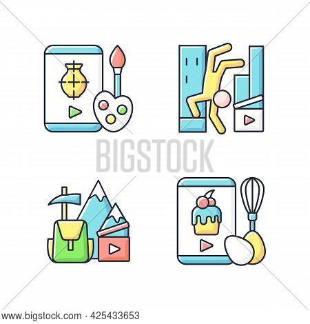 Internet Video Rgb Color Icons Set. Drawing Tutorial. Parkour Footage. Travel Vlog. Online Cooking C