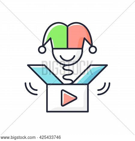 Prank Videos Rgb Color Icon. Funny Content. Laughing At Jokes Online. Humorous Trick. Comedy Videos