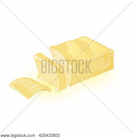 Margarine Or Milk Butter Block Divided In Slices, Natural Margarine Or Butter Product For Breakfast.
