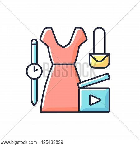 Fashion Video Rgb Color Icon. Female Beauty Vlog. Women Style For Blog Content. Shooting Footage For