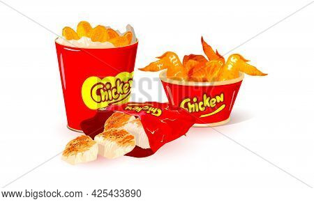 Collection Of Yummy Golden Crust On Poultry Parts, Quick Delicious Lunch, Takeaway. Vector Unhealthy