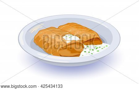 Ukrainian National Dish, Meal Served With Sour Cream And Greenery. Vector Stuffed Cabbage Leaves Wit