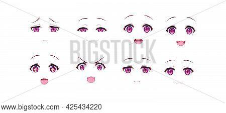 Anime Manga Dog Girl Expressions Eyes Set. Japanese Cartoon Style