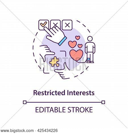 Restricted Interests Concept Icon. Autism Symptom Abstract Idea Thin Line Illustration. Obsessions,