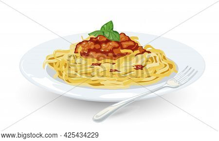 Cartoon Of Spaghetti With Bolognese Sauce And Greenery On Top, Italian Pasta From Restaurant Menu. V