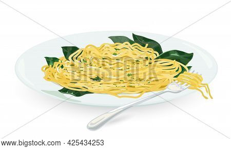 Cartoon Of Traditional Italian Dish Aglio Olio, Cooked Pasta With Garlic And Olive Oil, Added Greene