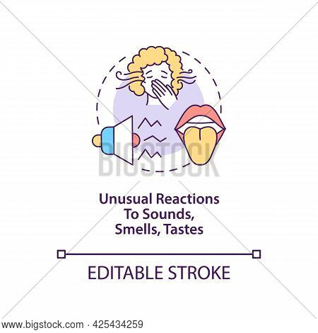 Sensory Sensitivity Concept Icon. Autism Symptom Abstract Idea Thin Line Illustration. Unusual React