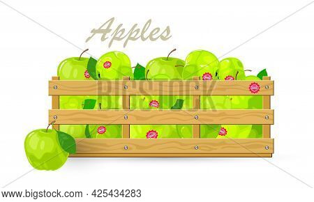 Cartoon Of Organic Apples Fruit With Sweet Or Sour Taste, Eco Product. Vector Transportation For Sel