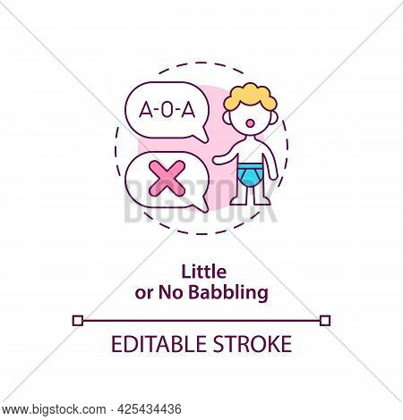 Little And No Babbling Concept Icon. Autism Sign In Kids Abstract Idea Thin Line Illustration. Delay