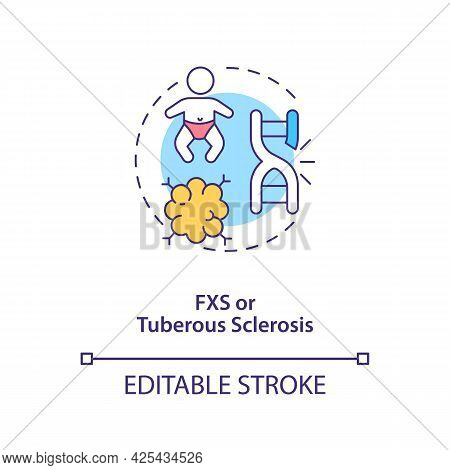 Fxs And Tuberous Sclerosis Concept Icon. Autism Cause Abstract Idea Thin Line Illustration. Intellec
