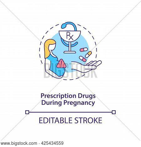 Prescription Drugs During Pregnancy Concept Icon. Autism Risk Factor Abstract Idea Thin Line Illustr