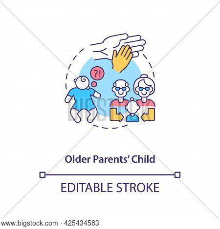 Older Parents Child Concept Icon. Autism Risk Factor Abstract Idea Thin Line Illustration. Parental-