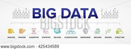 Big Data Concept Vector Icons: Analysis, Process, Algorithm, Statistics, Big Data, Classification, K