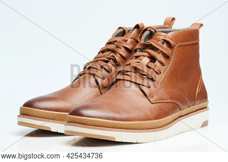 Pair Of Brown Leather Shoes Isometric View