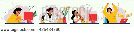 A Girl At Work, A Set Of Illustrations For Business. The Woman Responds To The Letter. A Woman Is Ta